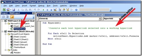 Membuat link aktif di Excel - visual basic editor
