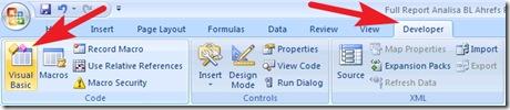 membuat link aktif di Excel - menu developer