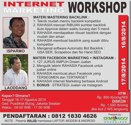Workshop SEO Jakarta 16 Agustus 2014