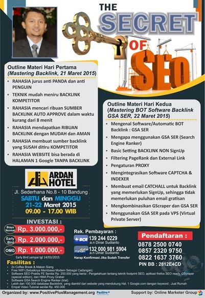 Brosur pelatihan SEO Bandung 21-22 Maret 2015
