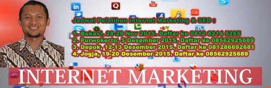 jadwal pelatihan internet marketing seo isparmo 2015