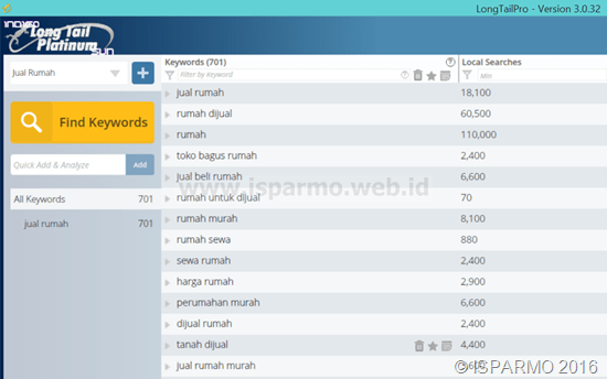 Riset keyword tool seo Long Tail Pro free