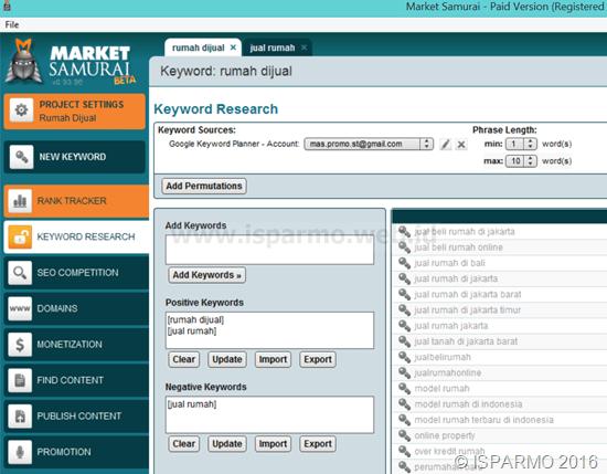 Riset keyword tool seo Market Samurai free