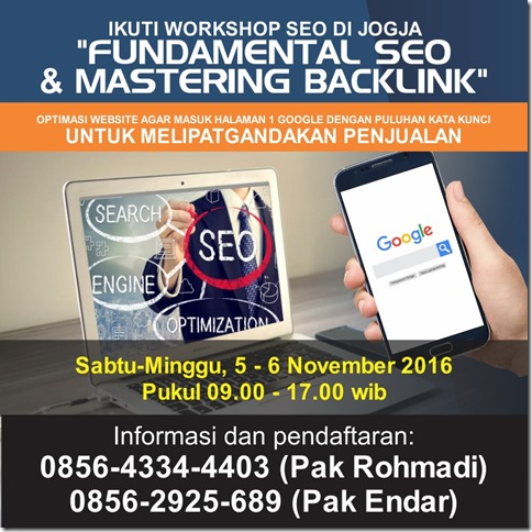 Pelatihan SEO Internet Marketing di Jogjakarta November 2016