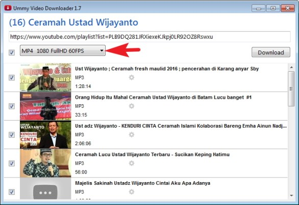 Cara download playlist video youtube dan mengconvert ke mp3 pilih tipe File isparmo.web.id