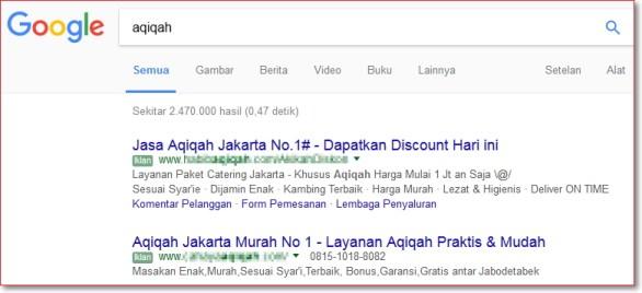 Contoh iklan di internet menggunakan Google Adword