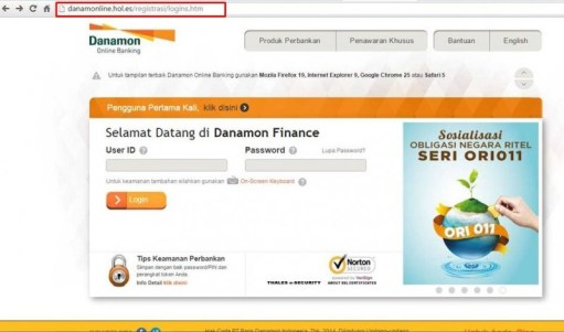 contoh website phising internet banking