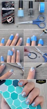diy nail art silver stripe