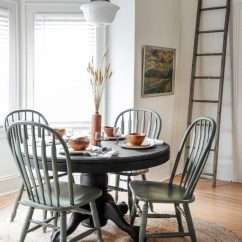 Diy Painted Windsor Chairs Aeron Chair Review 2017 My Thrifted Dining Table Makeover I Started By Sanding The Topcoat With Mouse Sander To Rough Up Then Sprayed On About 5 Light Coats Of Krylon Colormaster Paint Primer
