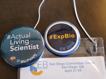 2018 EB buttons featuring Actual Living Scientist and Exp Bio hashtags.