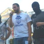 Guy at the mic wearing a George Soros Army T-shirt. No, it's not Portland, it's Macedonia. It just looks like Portland.