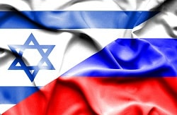 Waving flag of Russia and Israel