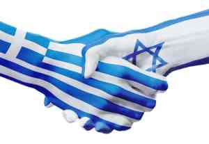 Flags Greece, Israel countries, handshake cooperation, partnership, friendship or sports team competition concept, isolated on white