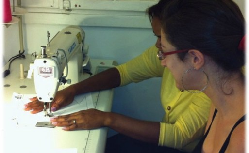 The eight women in the program are learning skills including sewing.