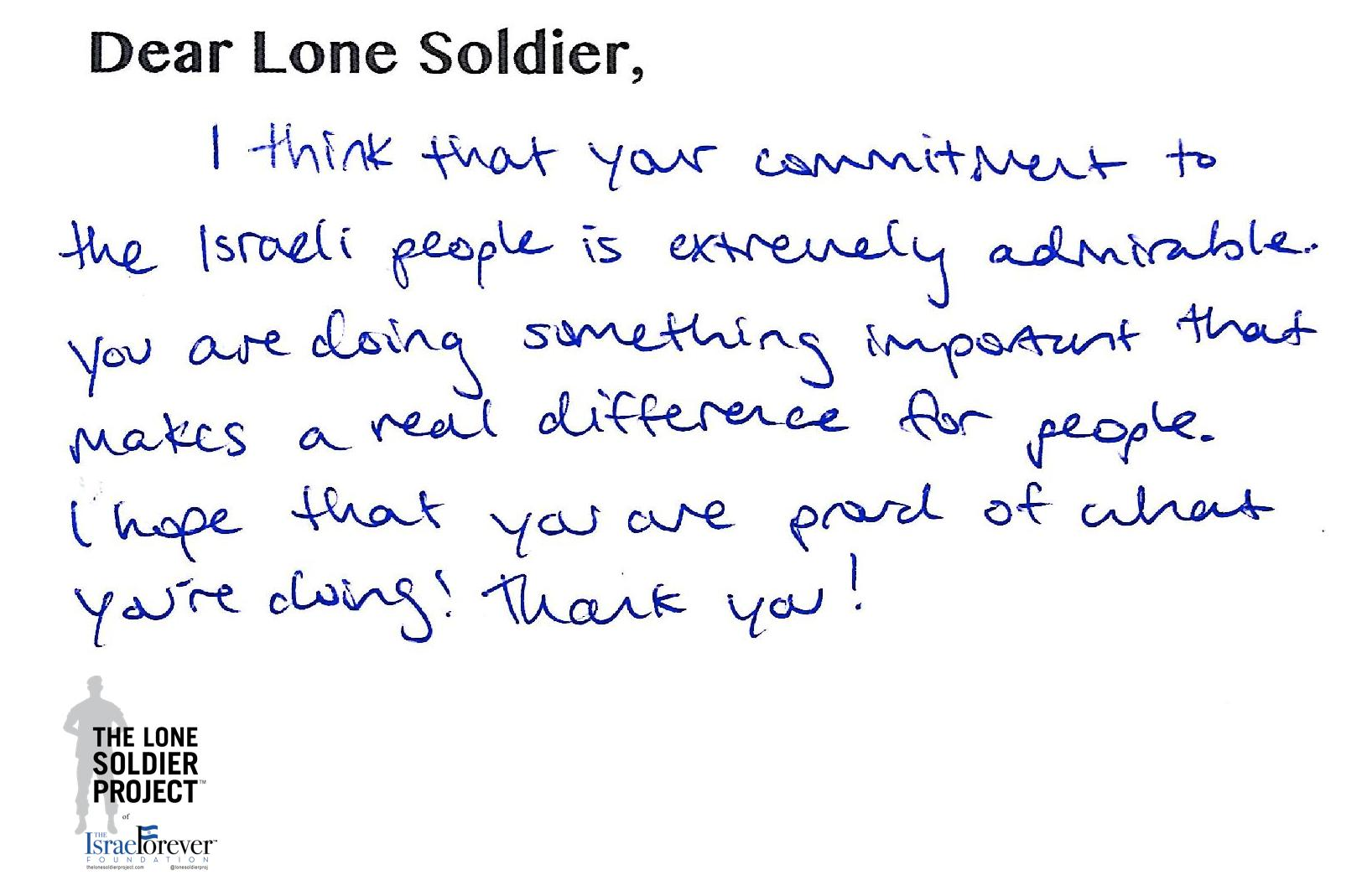 Campers At Jcc Of Greater Washington Send Thank You Letters To Idf Lone  Soldiers: The Israel Forever Foundation