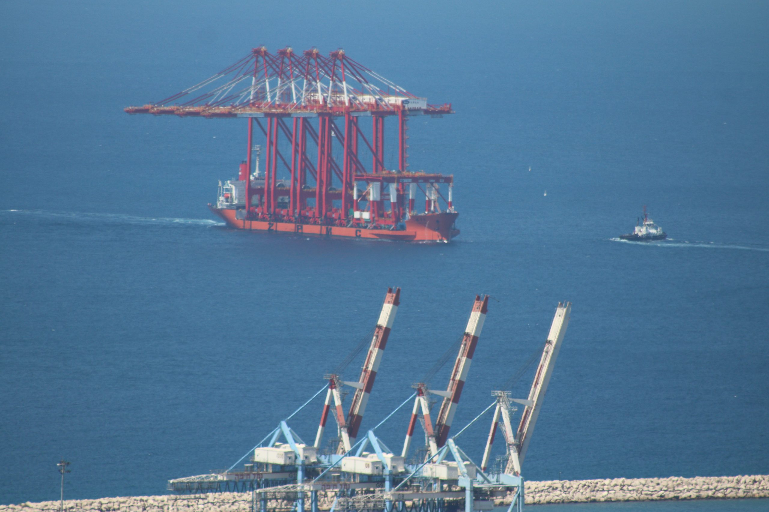 The ZPMC floating crane is spotted in the Haifa Port