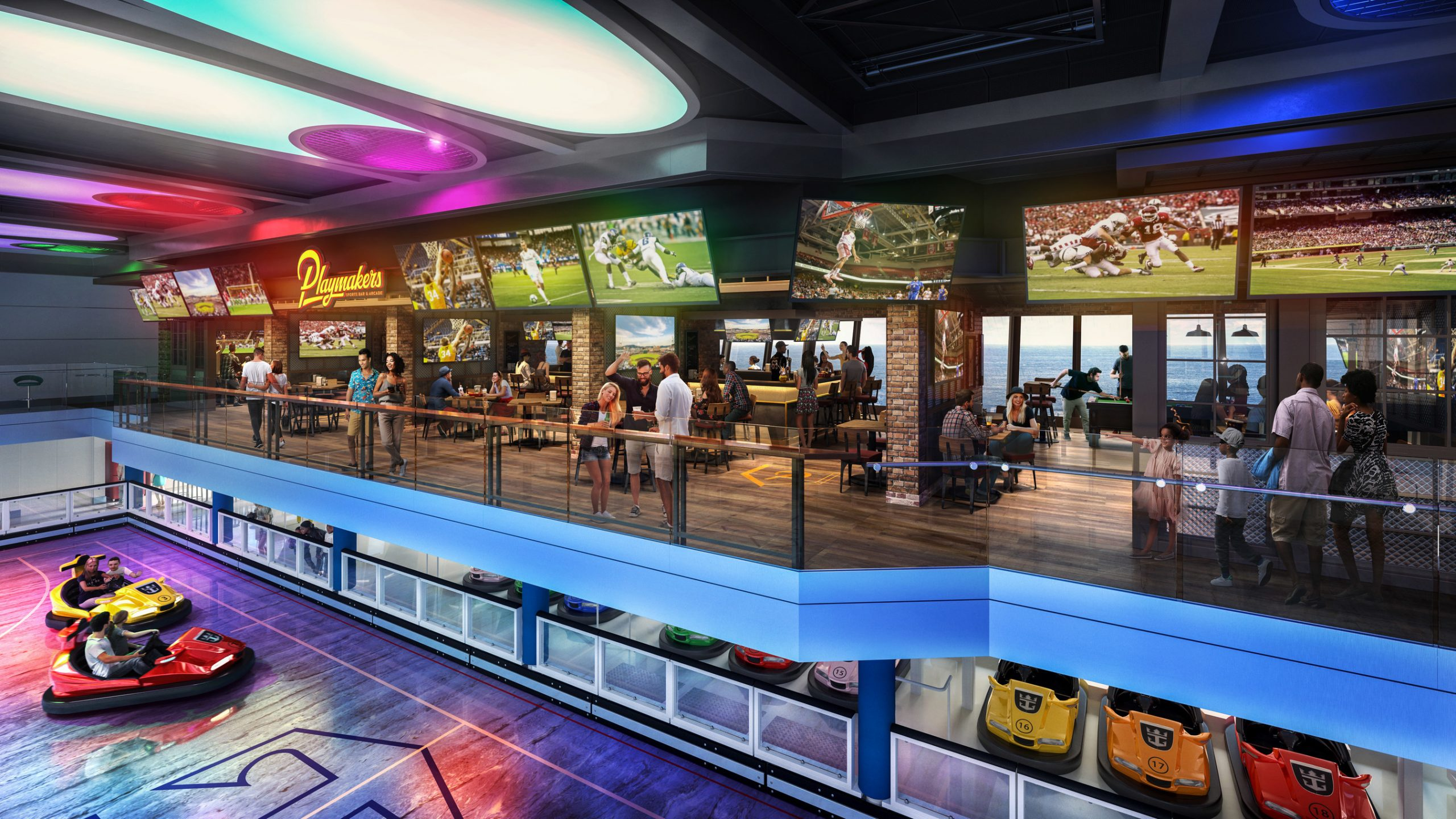 Odyssey of the Seas will combine the best of Quantum Class with new Royal Caribbean favorite Playmakers Sports Bar & Arcade, now boasting a prime location within SeaPlex. With TVs at every angle to cheer on the home team and club-level views of the competition below, sports fans won't miss a beat. Odyssey debuts in Haifa, Israel in May 2021 and then heads to Fort Lauderdale, Florida in November. (Royal Caribbean International)