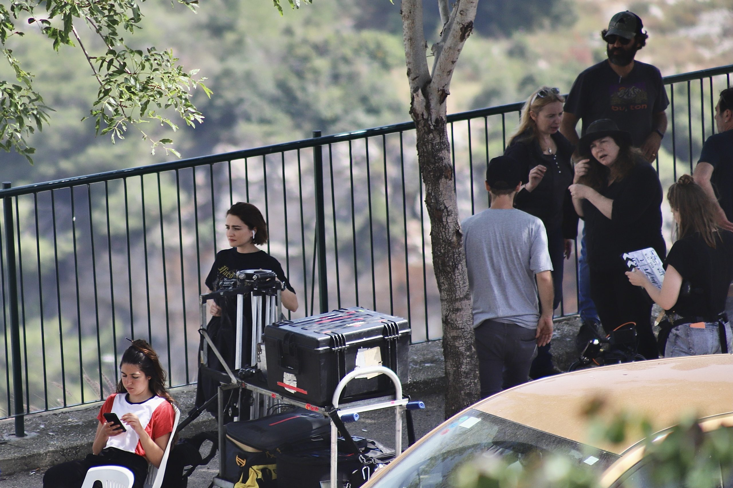 Ania Bukstein, the Israeli actress who played  the Red Priestess in Games of Thrones, at a shooting scene in Haifa