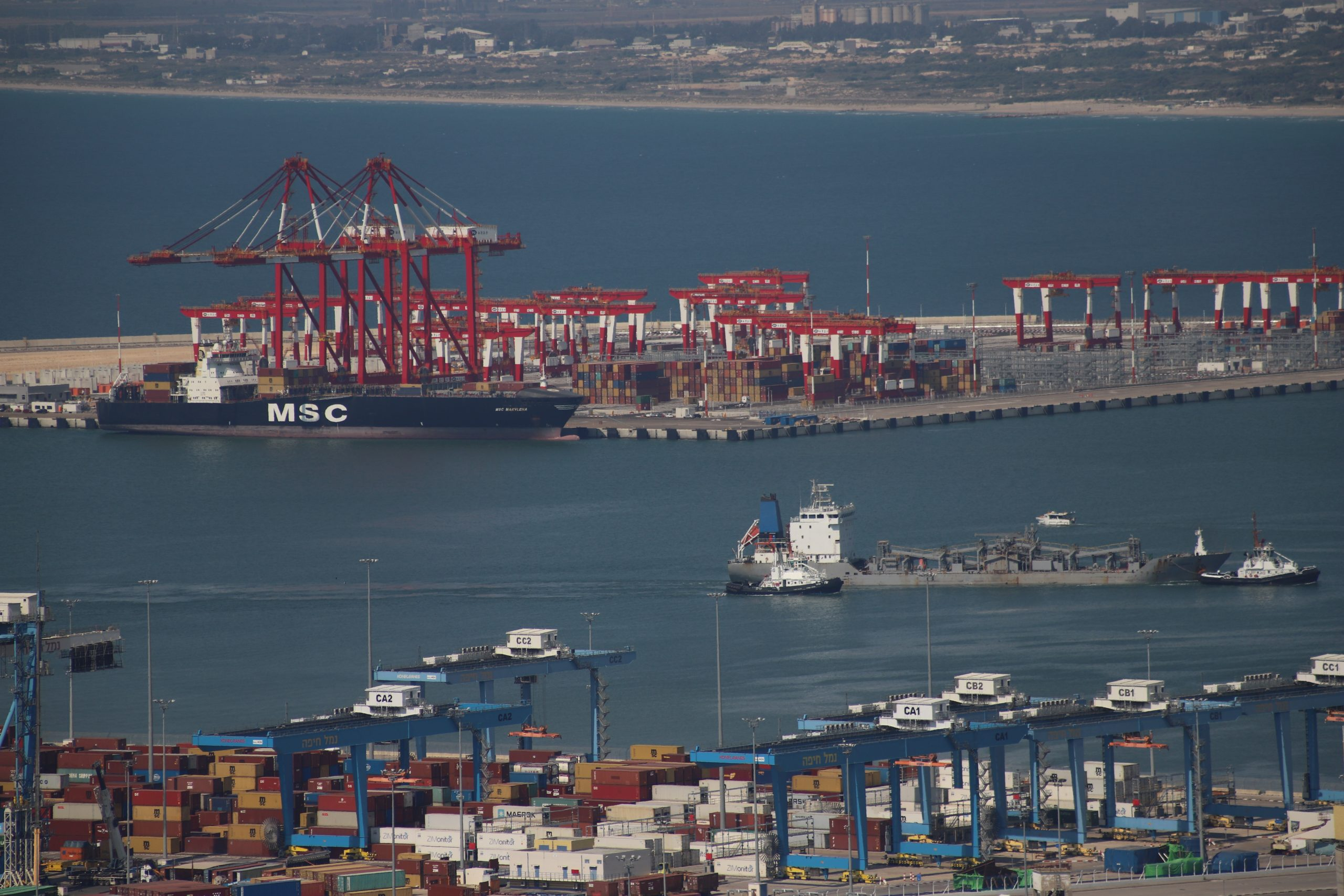 MSC Marylena is the first ship loaded in a new Bay Port in Haifa