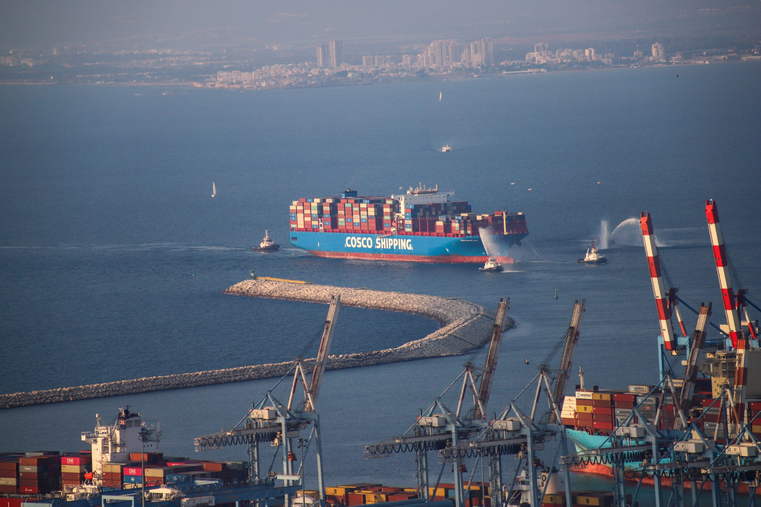 New Haifa Port Greets the First Container Ship