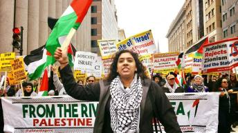 Protesters come from around the world to support Palestinian-led rally against AIPAC