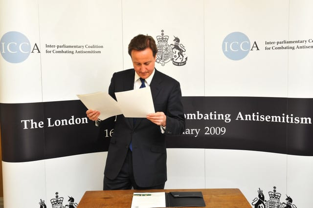"UK politician (and later Prime Minister) David Cameron signed the Inter-Parliamentary Coalition statement calling on governments to outlaw certain forms of criticism of Israel, including calls to boycott Israel; to regulate criticism of Israel in the media; to monitor criticism of Israel online and elsewhere; and to prosecute critics of Israel under ""hate crimes"" legislation."