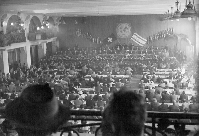 Photo of World Jewish Congress plenary session in 1948