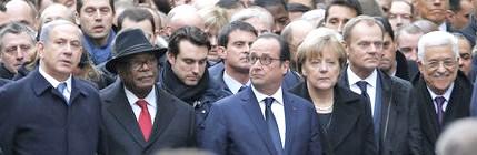 Front row left to right: Israel PM Netanyahu, Mali's President Ibrahim Boubacar Keita, Germany's Chancellor Angela Merkel, European Council President Donald Tusk, PLO Chairman Mahmoud Abbas (photo: NYTimes blog).