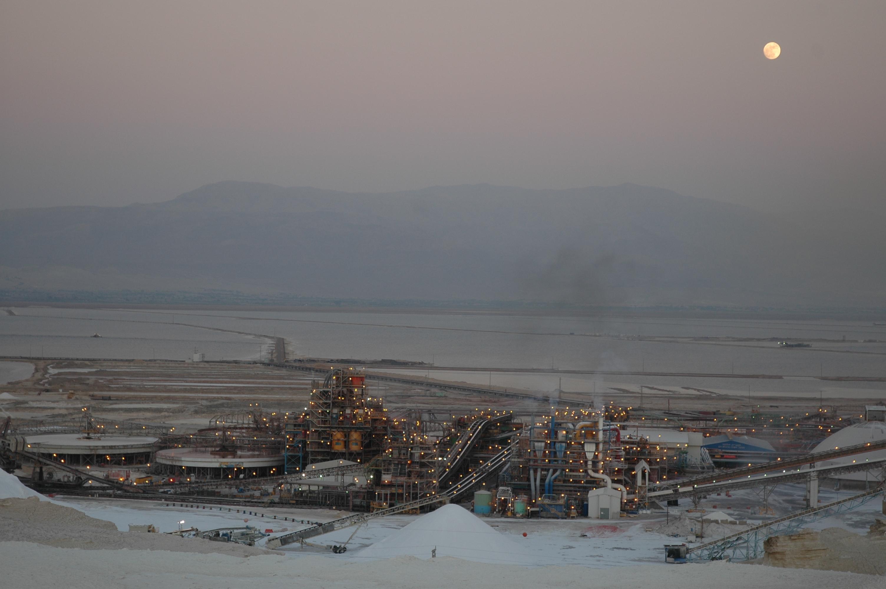 Full moon over Dead Sea Works