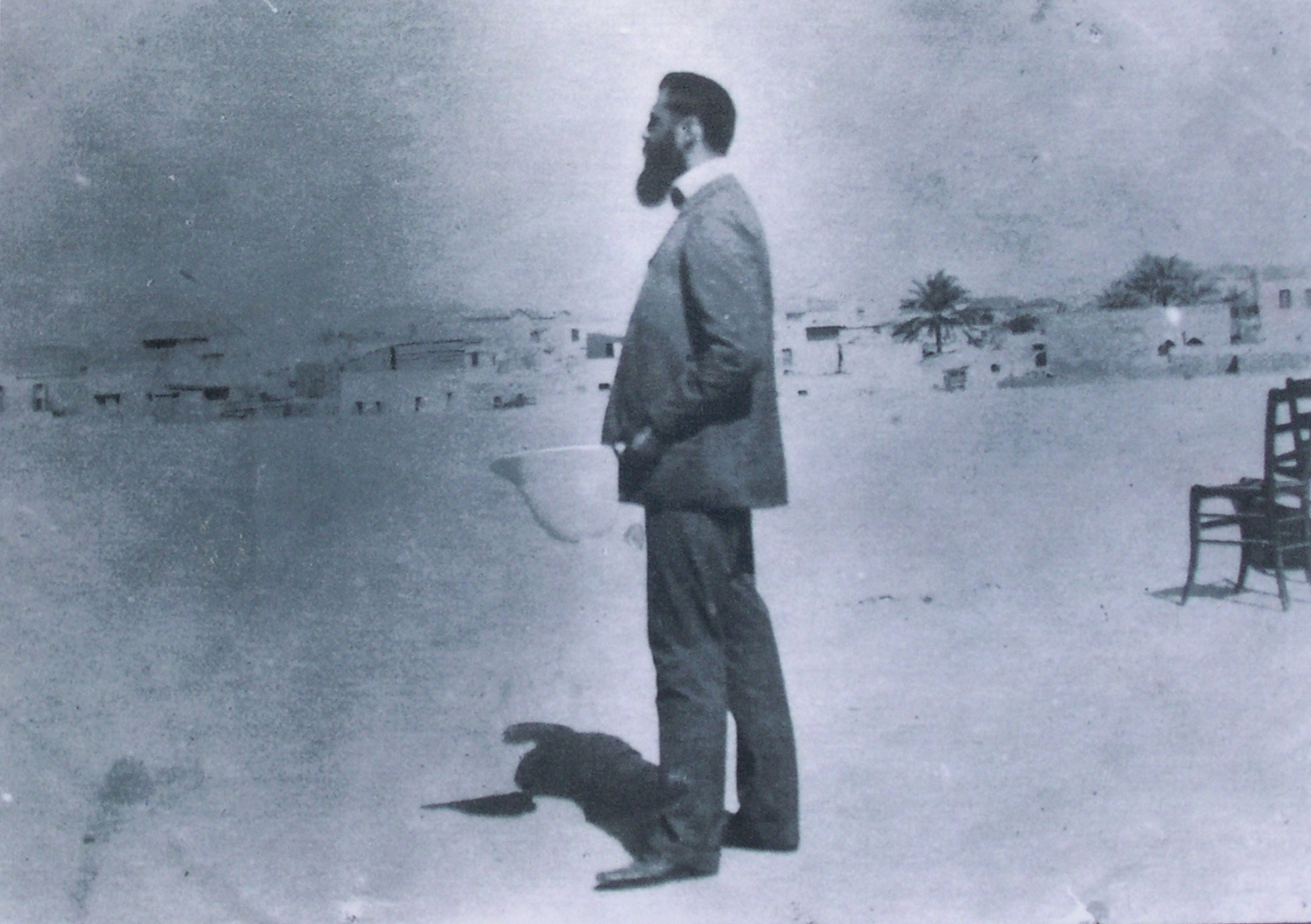 Posed photo of Herzl on roof at Mikve Israel