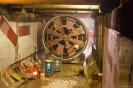 Voorzijde tunnelboor boorkop in ondergrondse tunnel