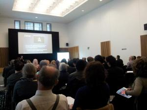 A photo of a conference lecture in progress at ITAG 2012