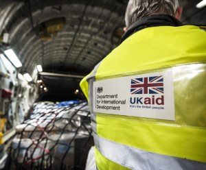 DfID worker checking supplies on a RAF C17 bound for the Philippines