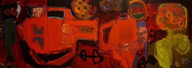 2 - 組作品(4点)「献花」カンバス、アクリル、カラージェッソ、オイルパステル 91×256.2cm 20150202