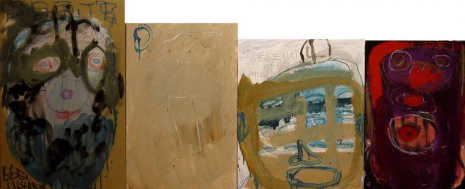 1 - 組作品(4点)(悲しみの日々) カンバス、91×224.2cm 20150128