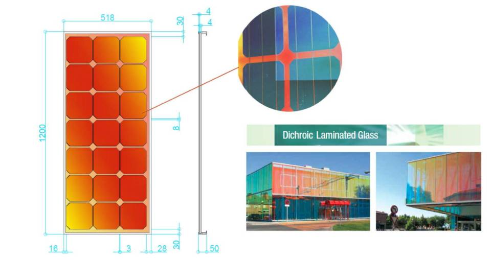 dichoric laminated  glass
