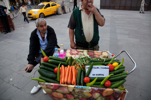 The Cucumber Man of Galata -- photo by Jonathan Lewis