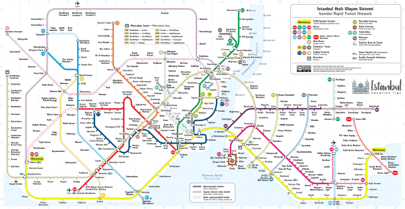 Public transport map Istanbul Vacation Tips