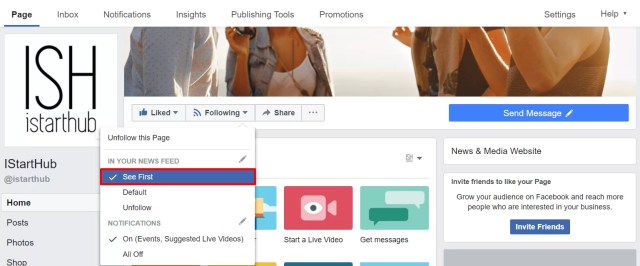 how to set see first function on Facebook