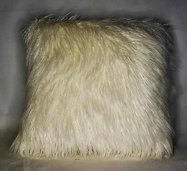 black white ivory mongolian shaggy faux