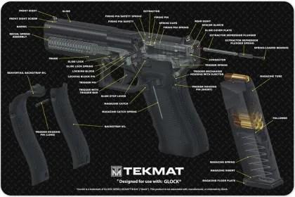 Glock 17 9mm Pistol 3d Cut Away Tekmat Colour Schematic