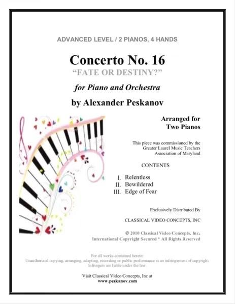 Piano Concerto No. 16 (Arranged for 2 Pianos) e-Print