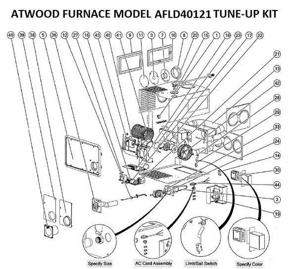 Atwood / Hydro Flame Furnace Model AFLD40121 Tune-Up Kit