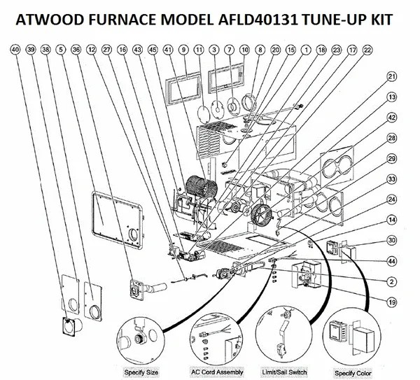 Atwood / Hydro Flame Furnace Model AFLD40131 Parts