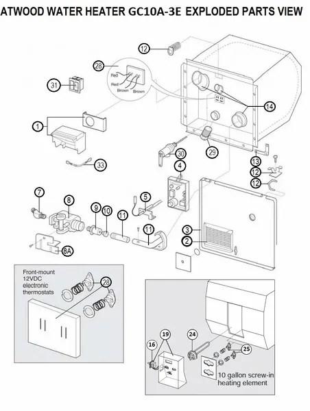 Suburban Rv Water Heater Parts Diagram : suburban, water, heater, parts, diagram, Atwood, Water, Heater, Model, GC10A-3E, Parts, Pdxrvwholesale