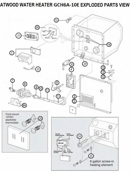 Atwood Water Heater Parts Diagram : atwood, water, heater, parts, diagram, Atwood, Water, Heater, Model, GCH6A-10E, Parts, Pdxrvwholesale