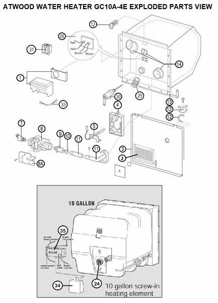 Suburban Rv Water Heater Parts Diagram : suburban, water, heater, parts, diagram, Atwood, Water, Heater, Model, GC10A-4E, Parts, Pdxrvwholesale