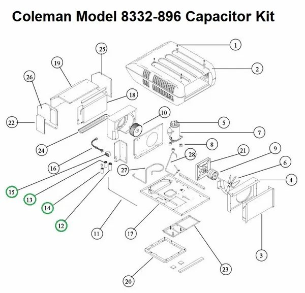 Coleman Air Conditioner Model 8332-896 Capacitor Kit