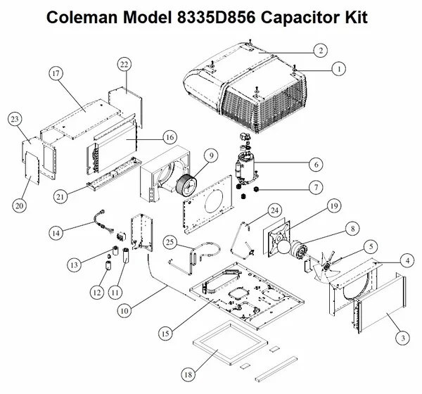 Coleman Air Conditioner Model 8335D856 Capacitor Kit