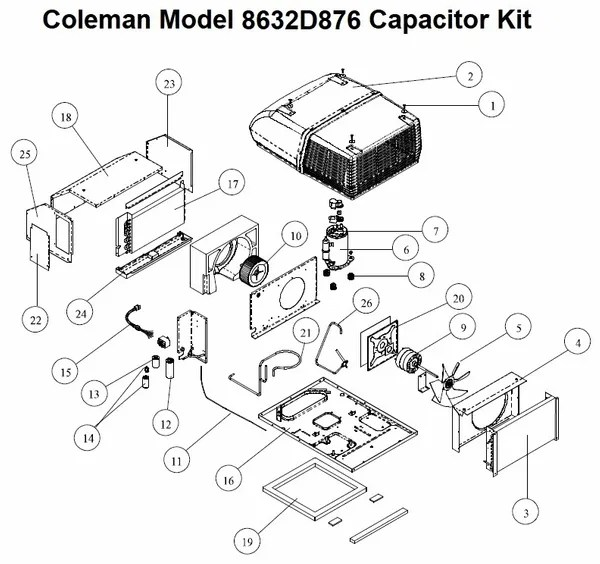 Coleman Air Conditioner Model 8632D876 Capacitor Kit